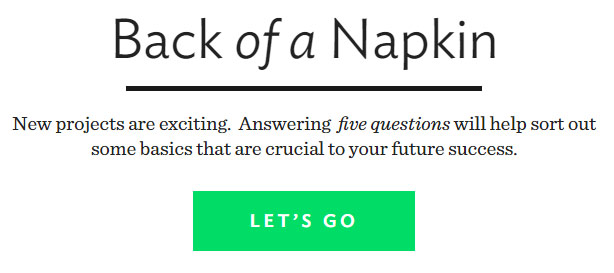 Back of a napkin - a startup tool